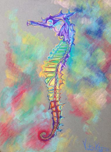 "#4, Pastel Drawing, ""Colorful Seahorse"""